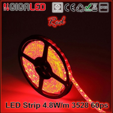 Led Ταινία 4.8W Strip-SMD3528 60 Leds Red IP65