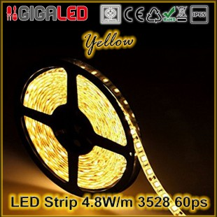 Led Strip 4.8W -SMD3528 60 Leds Yellow  IP65