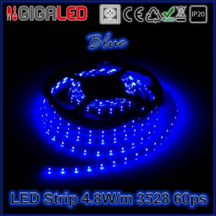 Led Strip 4.8W -SMD3528 60 Leds Blue  IP20