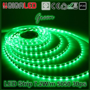 Led Strip 7.2W -SMD5050 30 Leds Green IP20