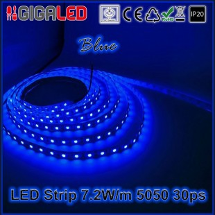 Led Strip 7.2W -SMD5050 30 Leds Blue IP20