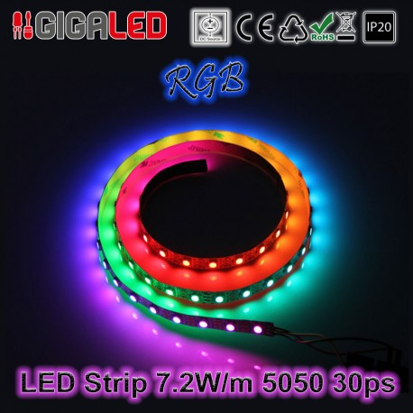 Led Ταινία 7.2W Strip-SMD5050 30 Leds RGB IP20