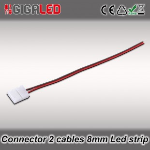 Connector 8mm with 2 cables for monochrome Led Strips