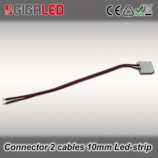 Connector 10mm with 2 cables for monochrome Led Strips