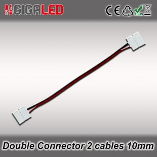 Double connector 10mm with 2 cables for monochrome Led Strips