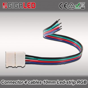 Connector 10mm with 4 cables for RGB Led Strips