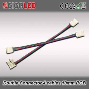 Double connector 10mm with 4 cables for RGB Led Strips