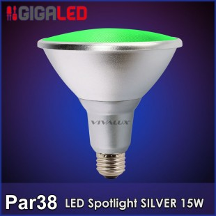 LED Spotlight SILVER Par 38 15W Πράσινη IP65 Vivalux