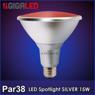 LED Spotlight SILVER Par 38 15W Κόκκινη  IP65 Vivalux