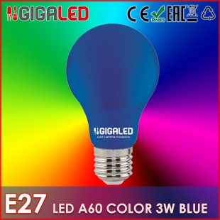 LED Lamp 3W E27/A60-Colour-Blue