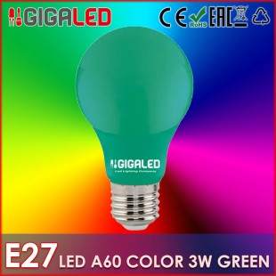 LED Lamp 3W Ε27/A60 Colour- Green