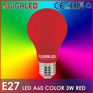 LED Lamp 3W Ε27/A60-Colour- Red