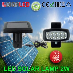 LED Solar floodlight (Light Bulb) 2W SMD with Motion Detector.