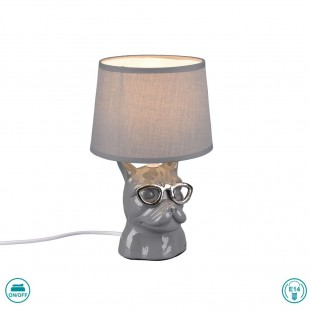 Dosy Table Lamp with Gray Hat and Gray Base