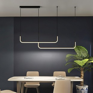 LED Suspended Ceiling Lamp Double BILBO Black 42W Dimmable 3 Color