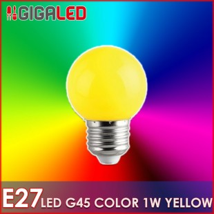 LED Lamp 1W E27-G45-Colour-Yellow